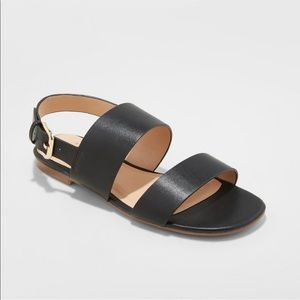 NEW Women's Black 2 Band Buckle Slide Sandals 9.5